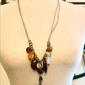 """Modern 20 """"necklace with cord and stones"""